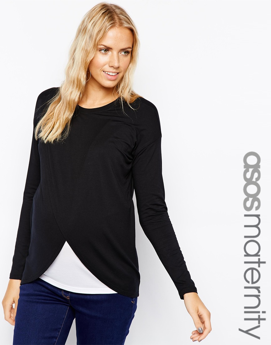 422c397445dd6c Lyst - ASOS Maternity Nursing Top With Wrap Overlay And Long Sleeve ...