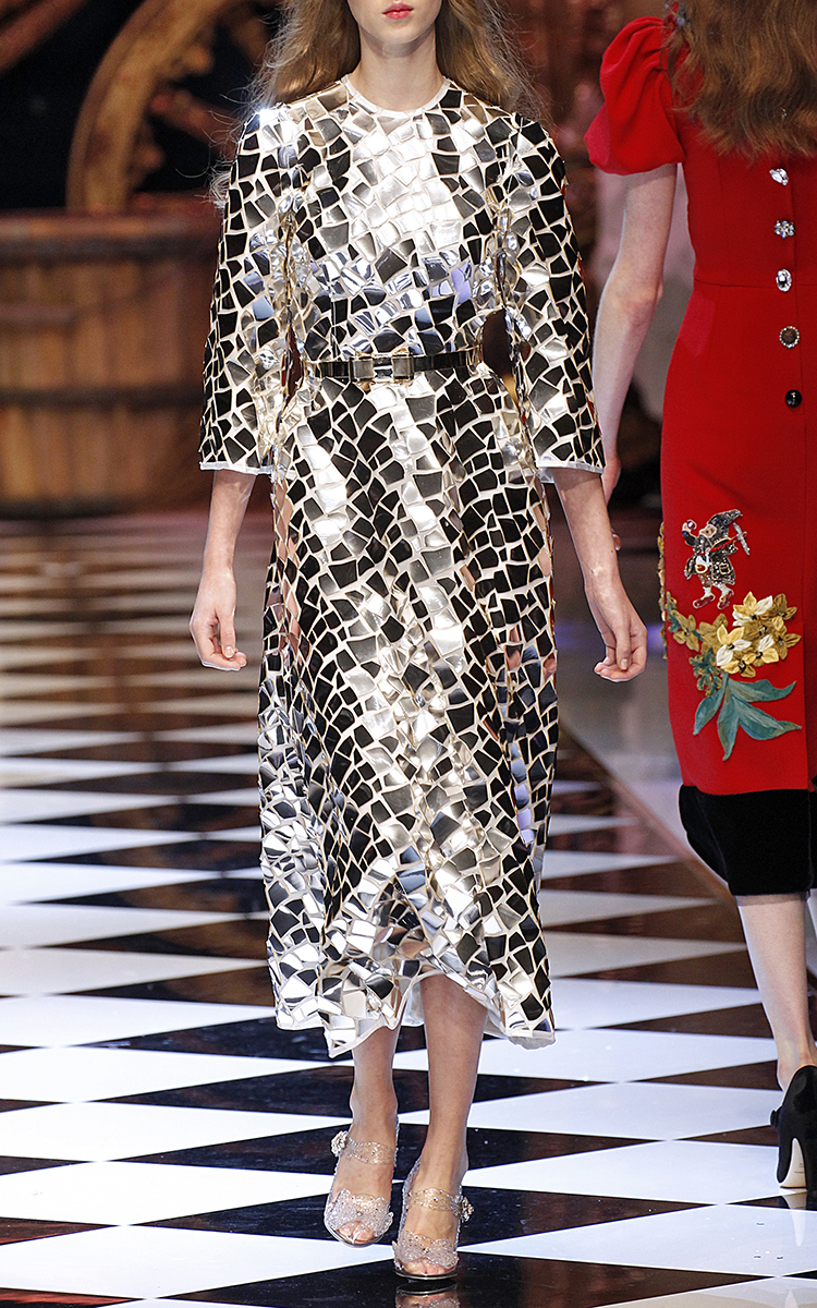 Lyst Dolce Amp Gabbana Mirror Mosaic Long Sleeve Dress In