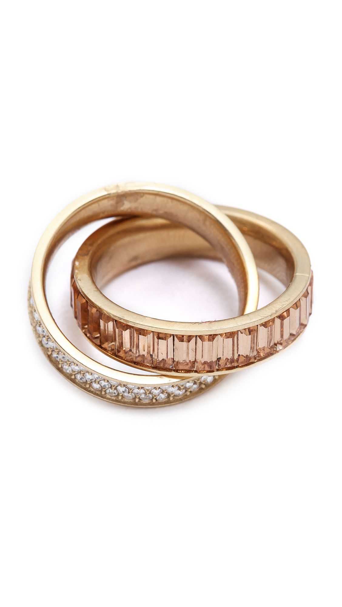 Michael kors Pave Baguette Crossover Ring Goldtopaz in Metallic