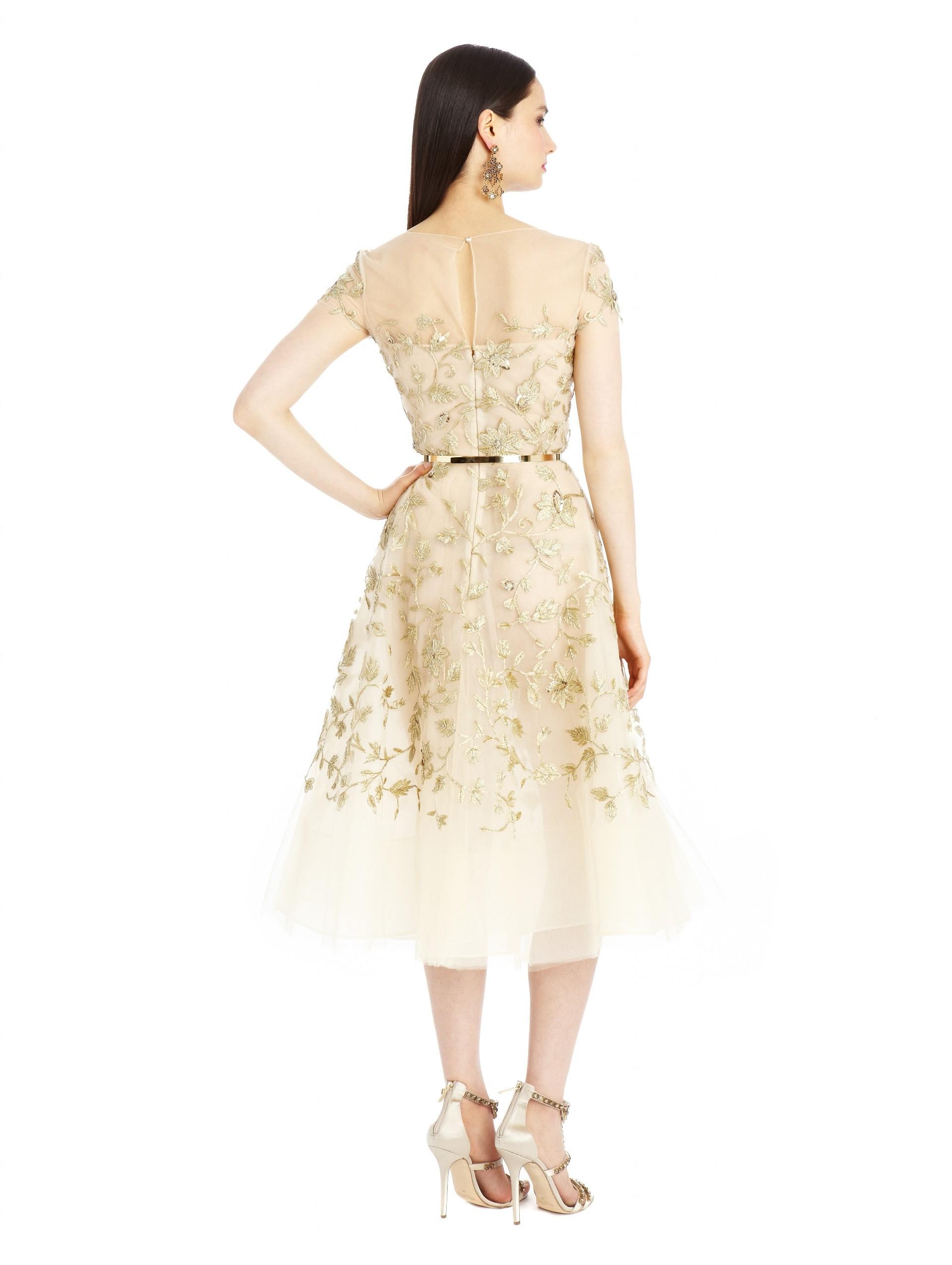lyst oscar de la renta gold floral embroidered tulle dress in metallic. Black Bedroom Furniture Sets. Home Design Ideas