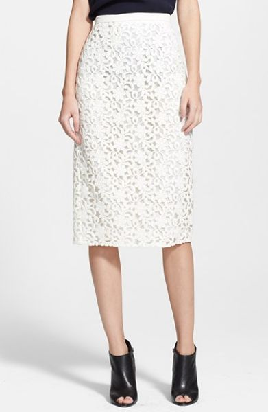 Lace Pencil Skirt: Bright, bold skirt is a breath of fresh air. Slimming pencil-style design has a stretch lining under the lace overlay for comfortable coverage. Slimming pencil-style design has a stretch lining under the lace overlay for comfortable coverage.