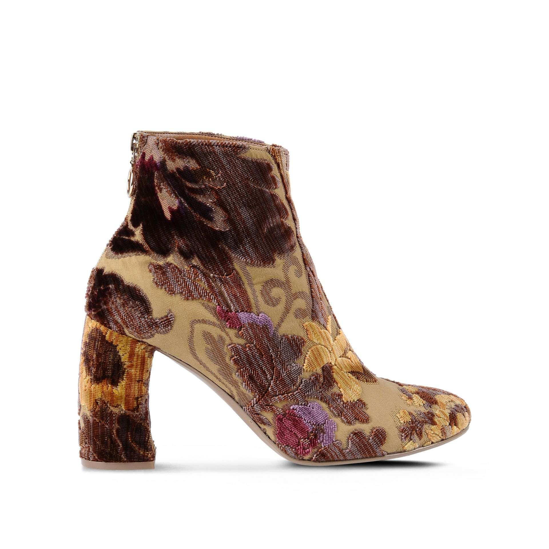 Lyst Stella Mccartney Mustard Brocade Boots In Brown