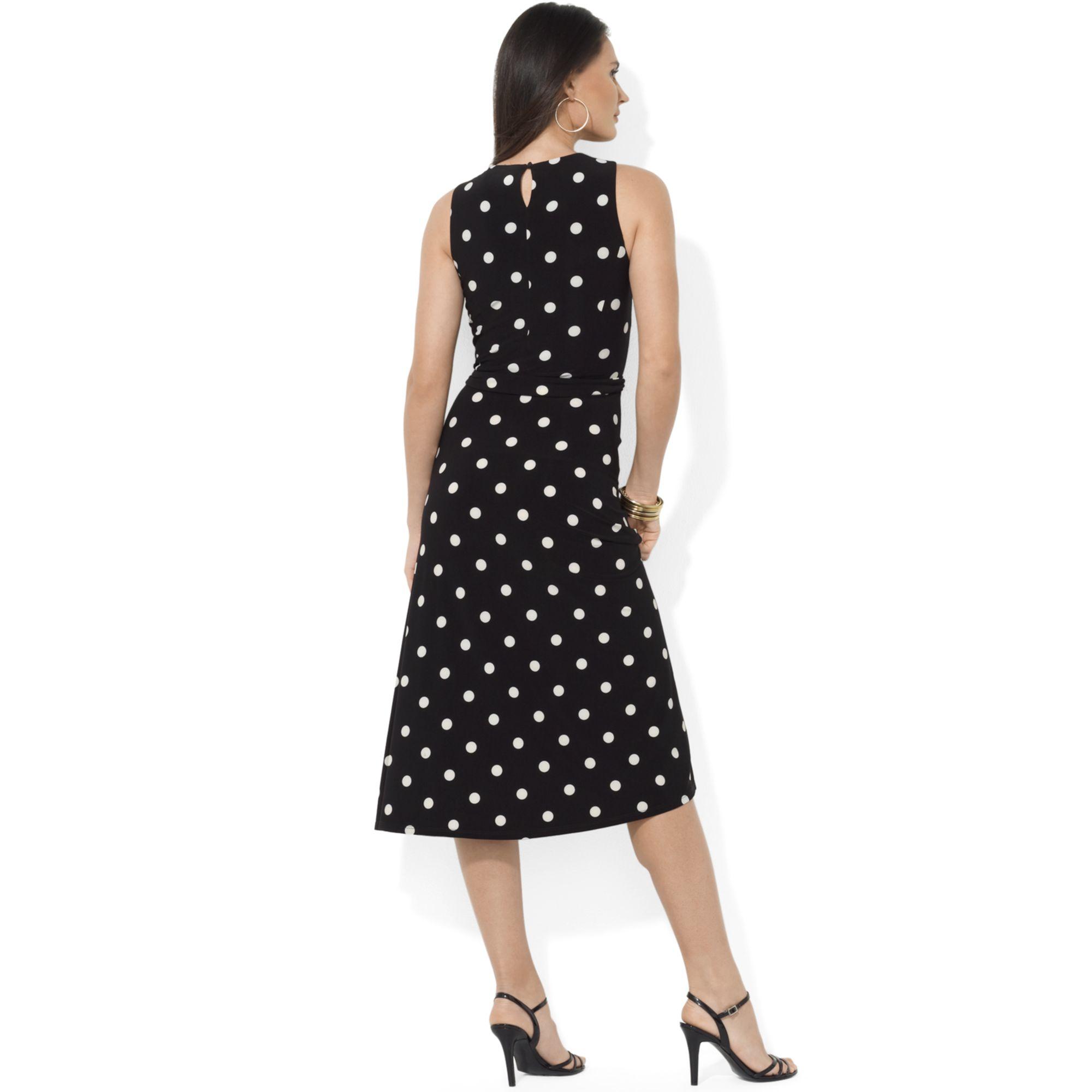 Lauren By Ralph Lauren Sleeveless A Line Polka Dot Dress