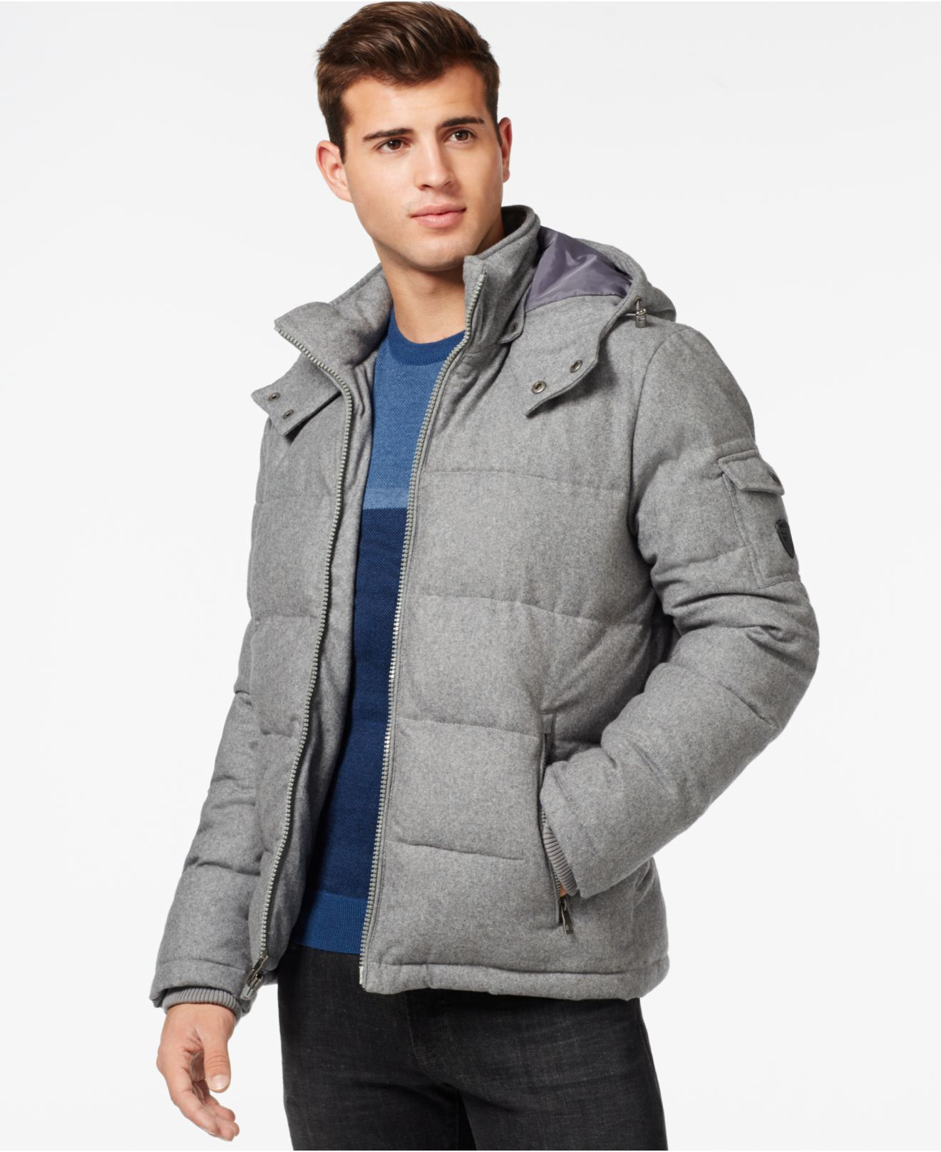 c7a2bb7cc872 Lyst - Guess Quilted Down-filled Jacket With Removable Hood in Gray ...
