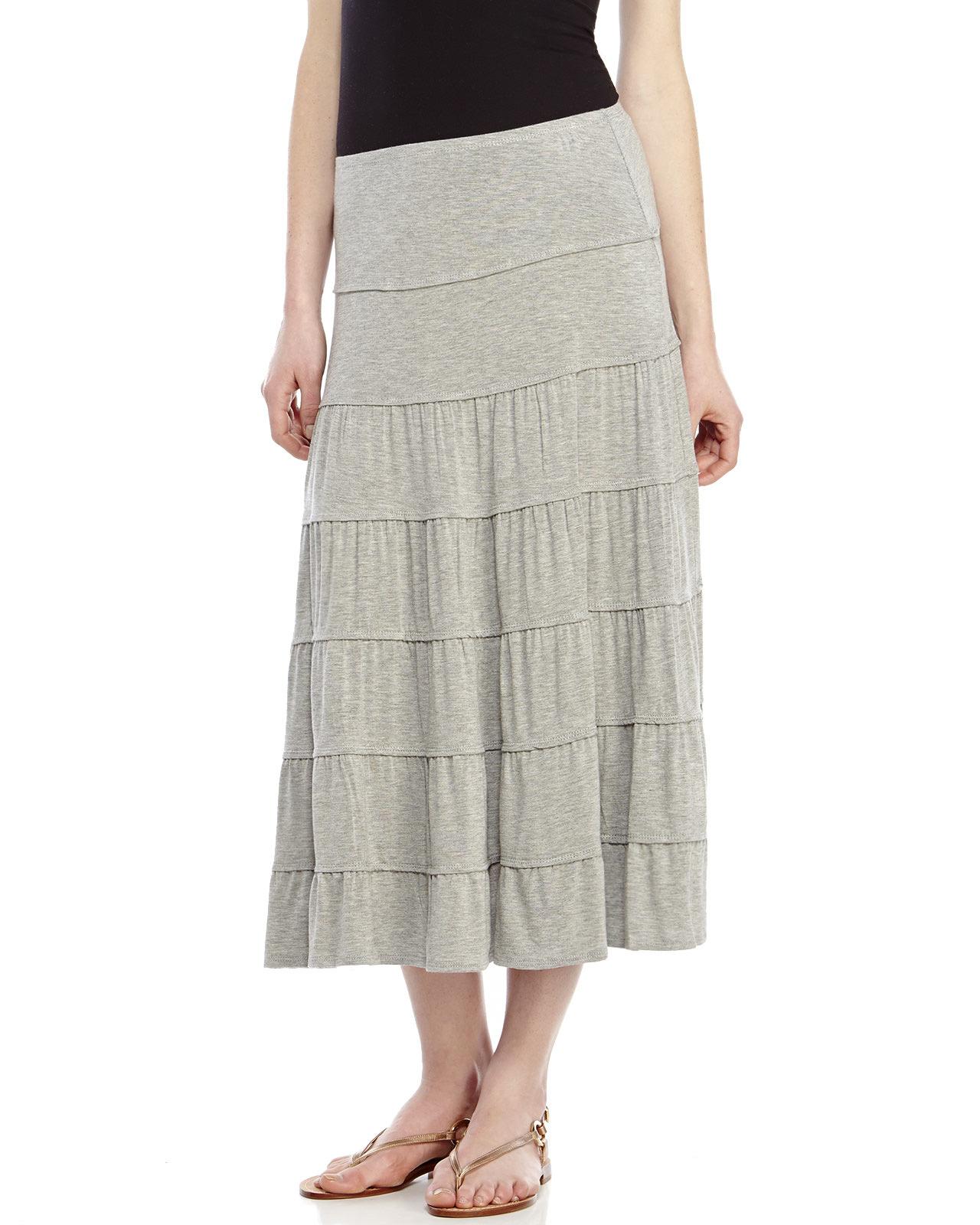 max studio light grey tiered midi skirt in gray
