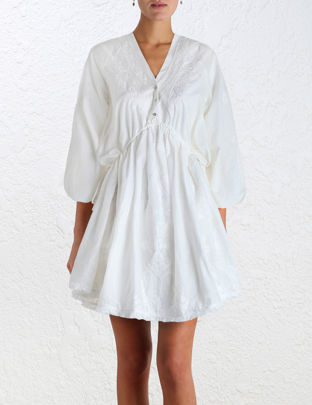 Zimmermann lotte embroidered drawn dress in white lyst