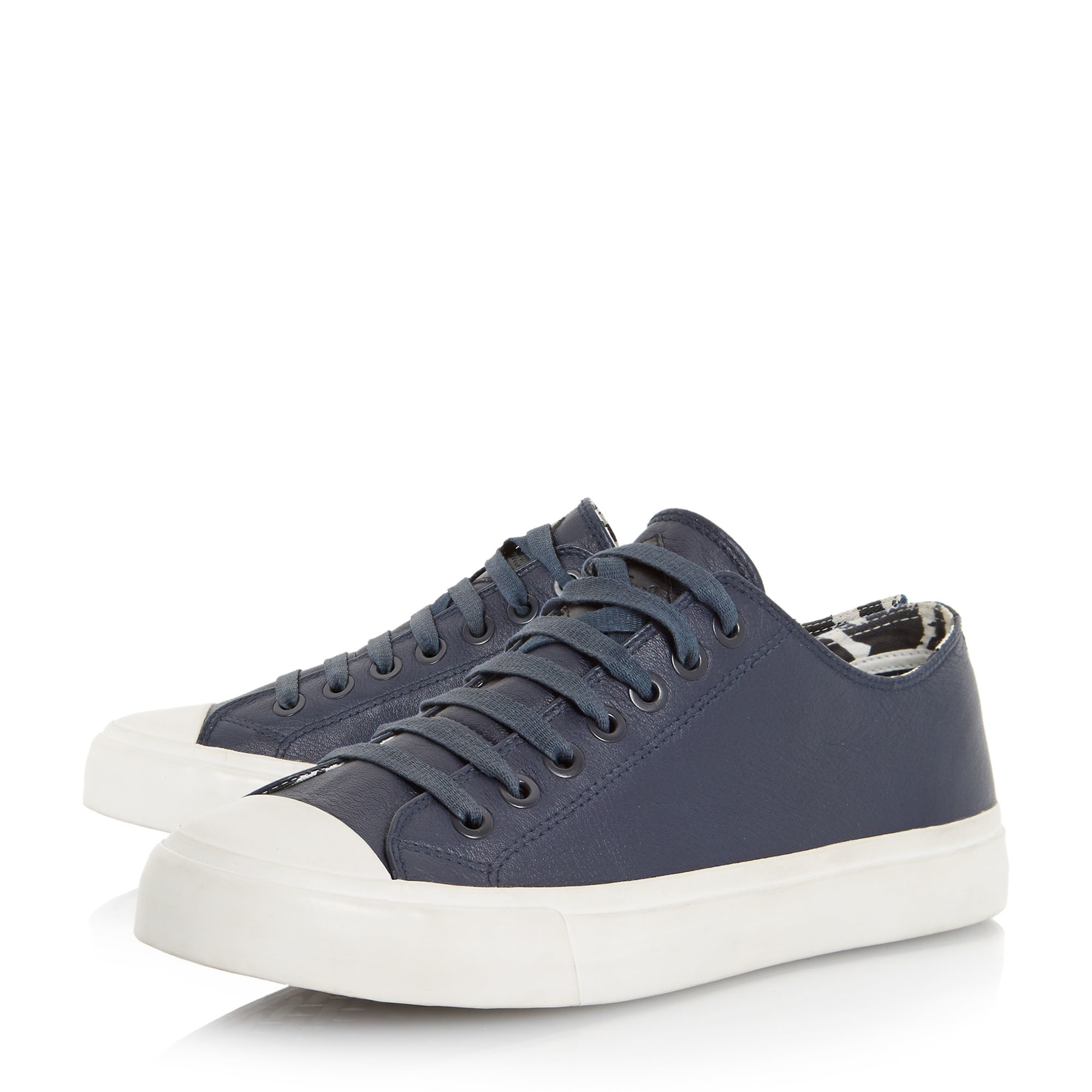 Paul Smith Indie Toecap Detail Leather Trainers in Navy (Blue) for Men