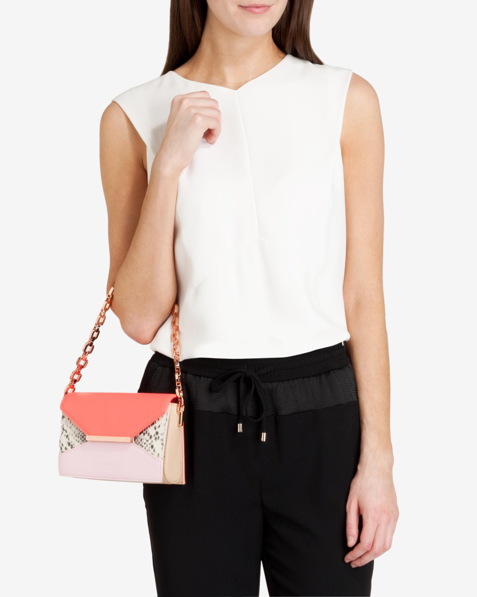 ted baker textured colour block shoulder bag in pink baby pink lyst. Black Bedroom Furniture Sets. Home Design Ideas