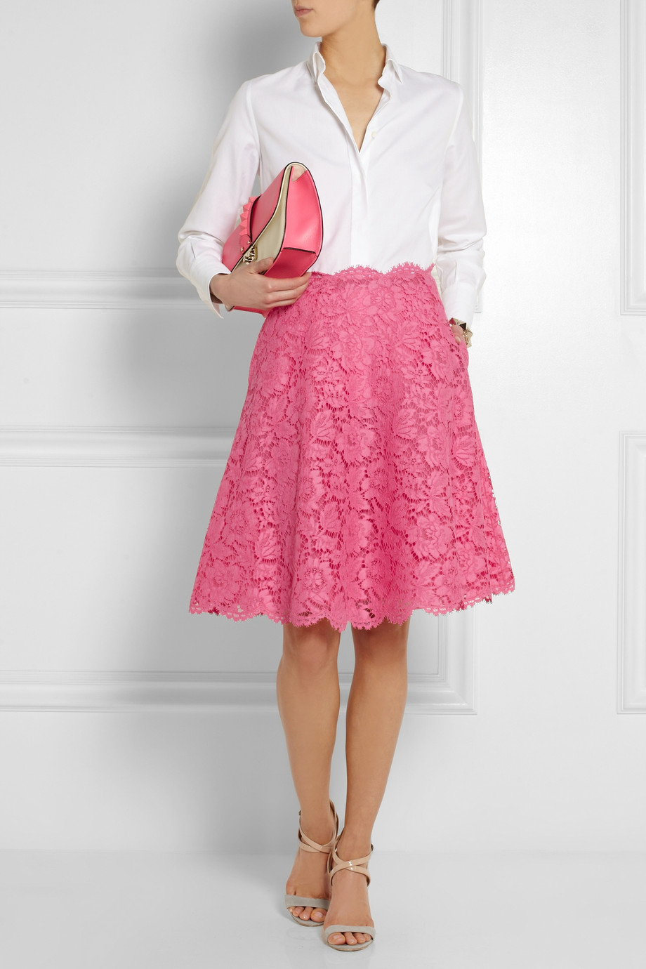 Lyst - Valentino Lace Skirt in Pink