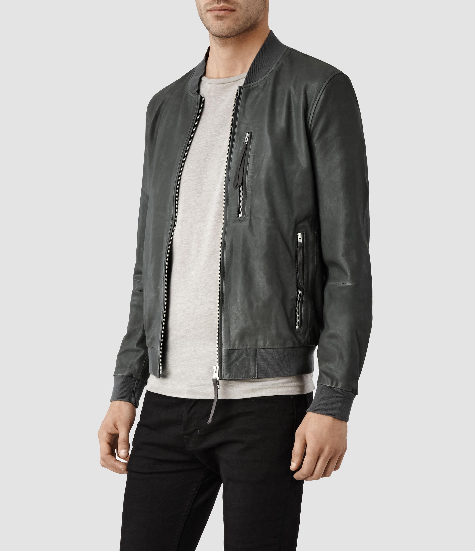 f4122f830 AllSaints Gray Blythe Leather Bomber Jacket for men
