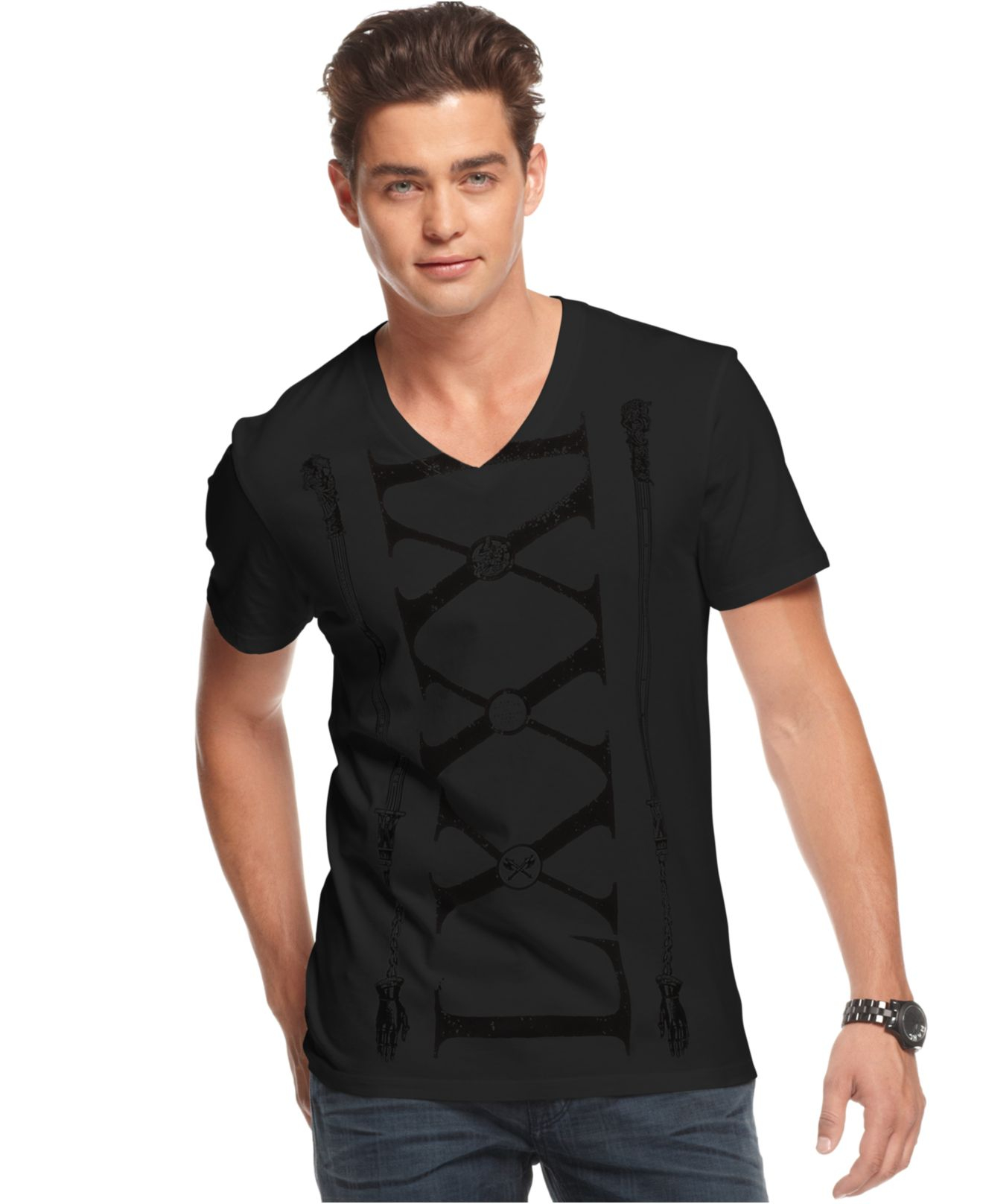 guess shirt roman numeral print t shirt in black for men. Black Bedroom Furniture Sets. Home Design Ideas