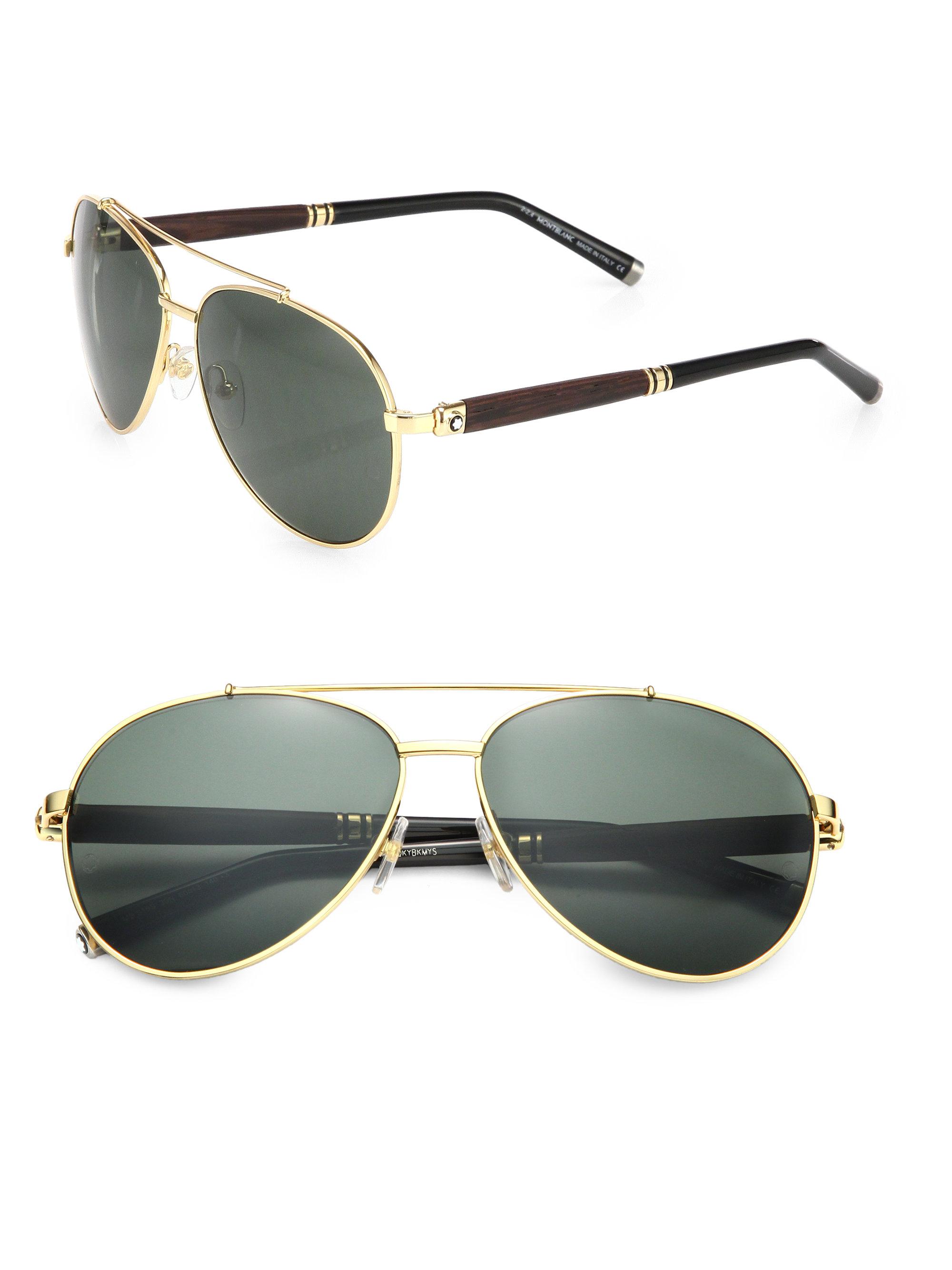 Lyst Montblanc 62mm Metal Aviator Sunglasses In Metallic