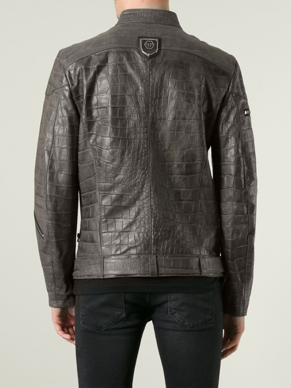 philipp plein crocodile effect jacket in gray for men brown lyst. Black Bedroom Furniture Sets. Home Design Ideas