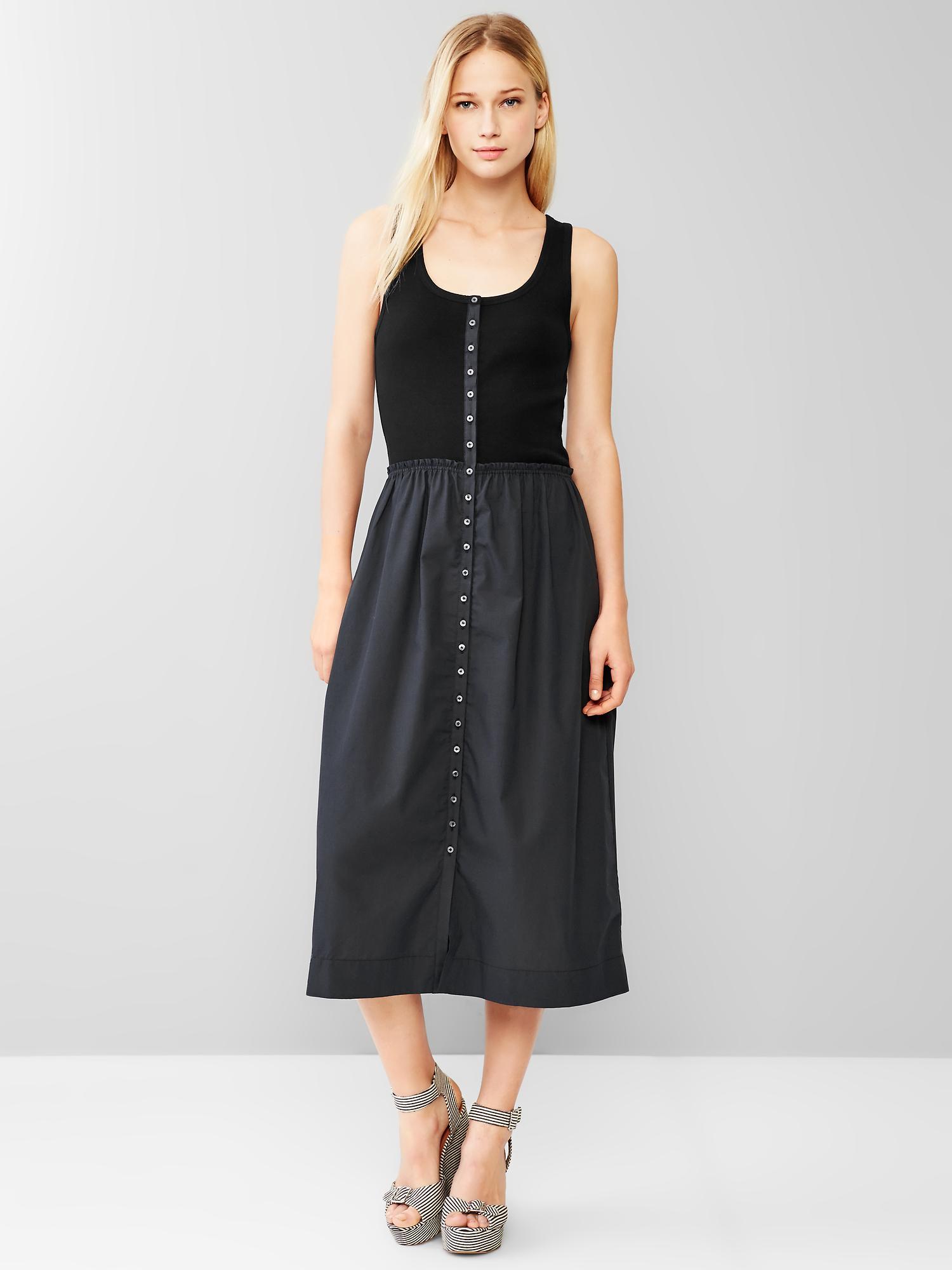 Gap Mix Media Tank Dress In Black True Black Knit Lyst