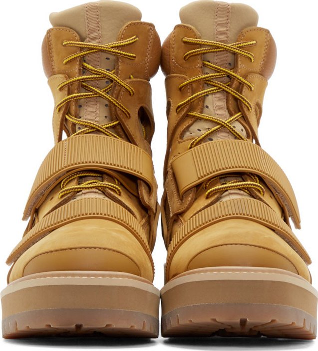 Hood By Air Camel Cut_out Avalanche Boots in Natural