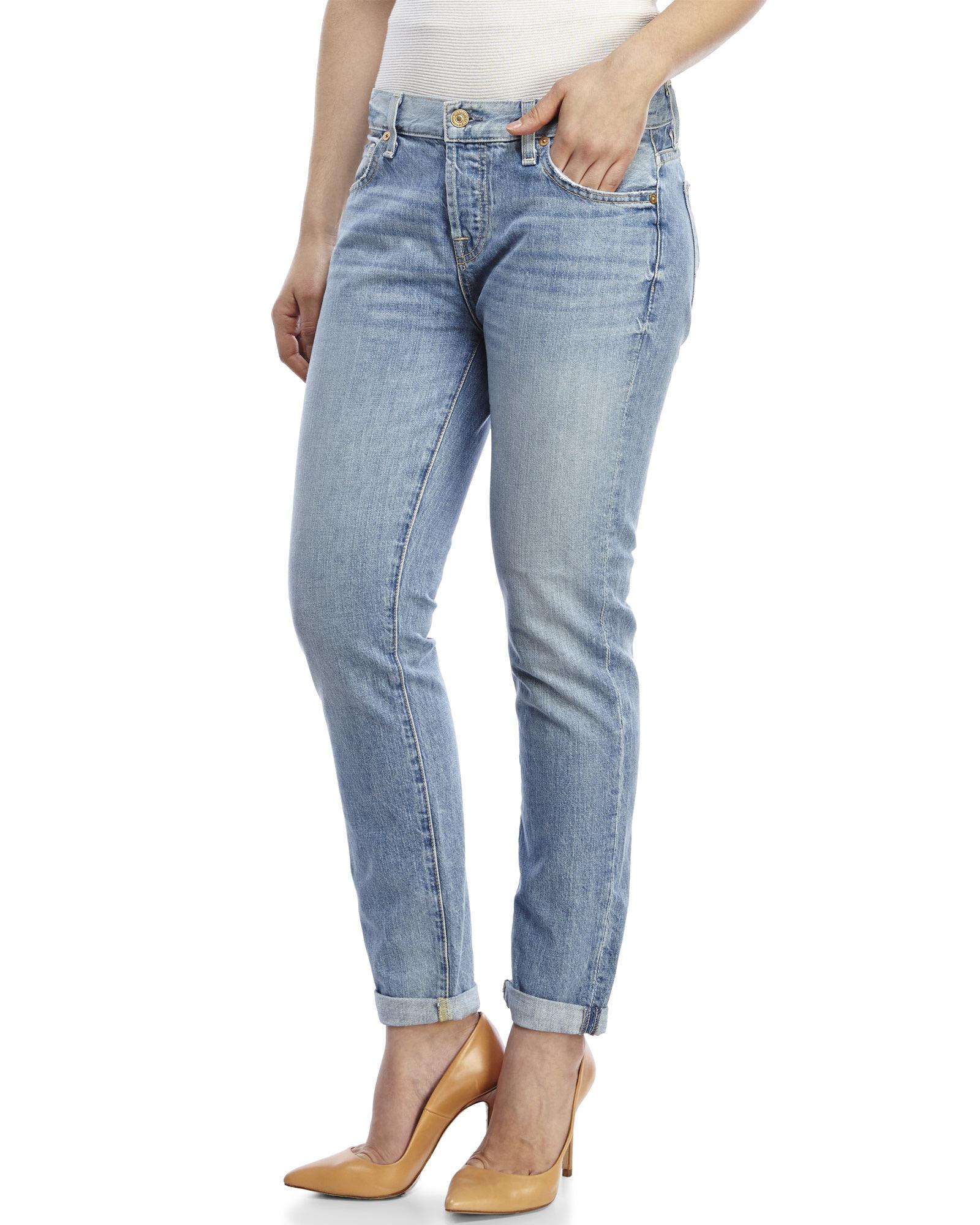 bee77cae648 7 For All Mankind Aura Blue Heritage Josefina Skinny Boyfriend Jeans ...