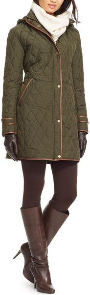 Ralph Lauren Lauren Quilted Faux Leather Trim Jacket In