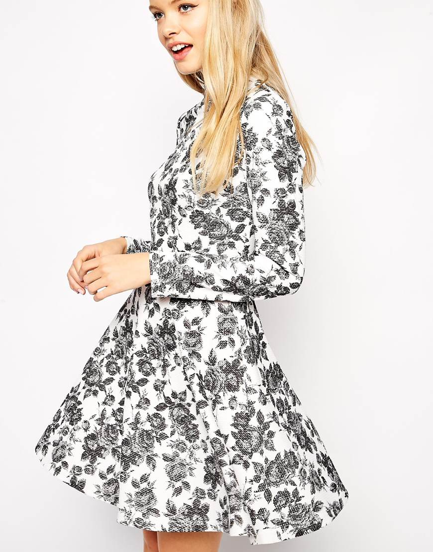 eda8458aeba ASOS Skater Dress In Textured Floral With High Neck And Long Sleeves ...