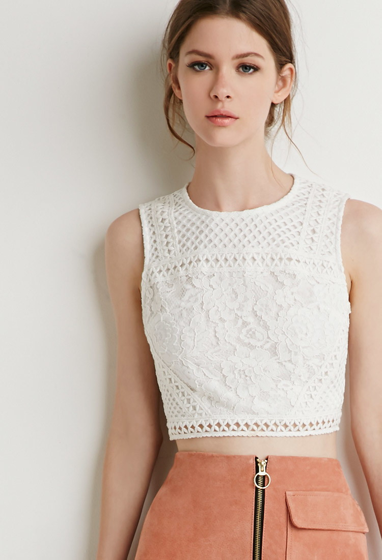 Lyst Forever 21 Mesh Paneled Lace Crop Top In White