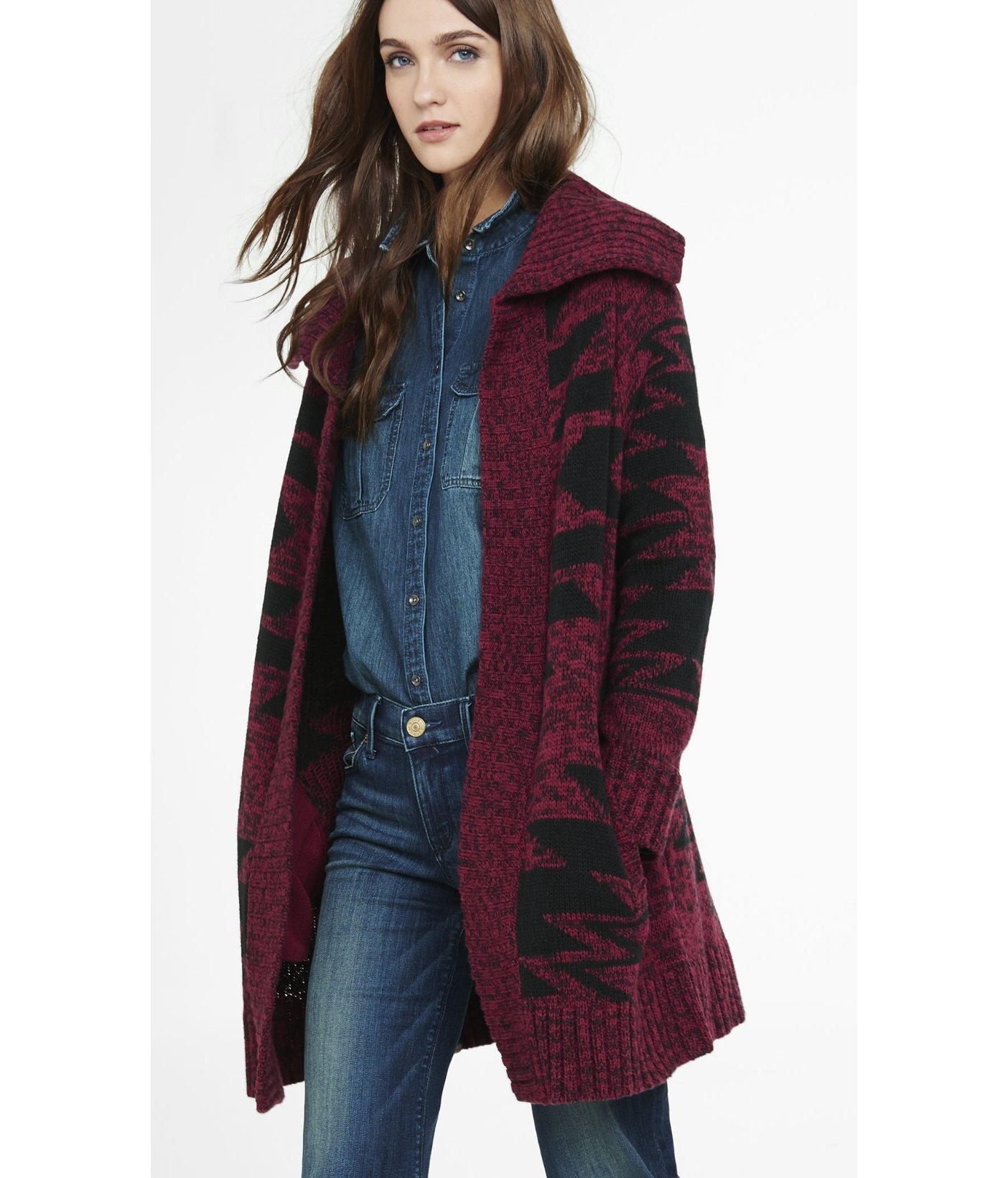 Southwestern Sweater Coat Coat Clothing