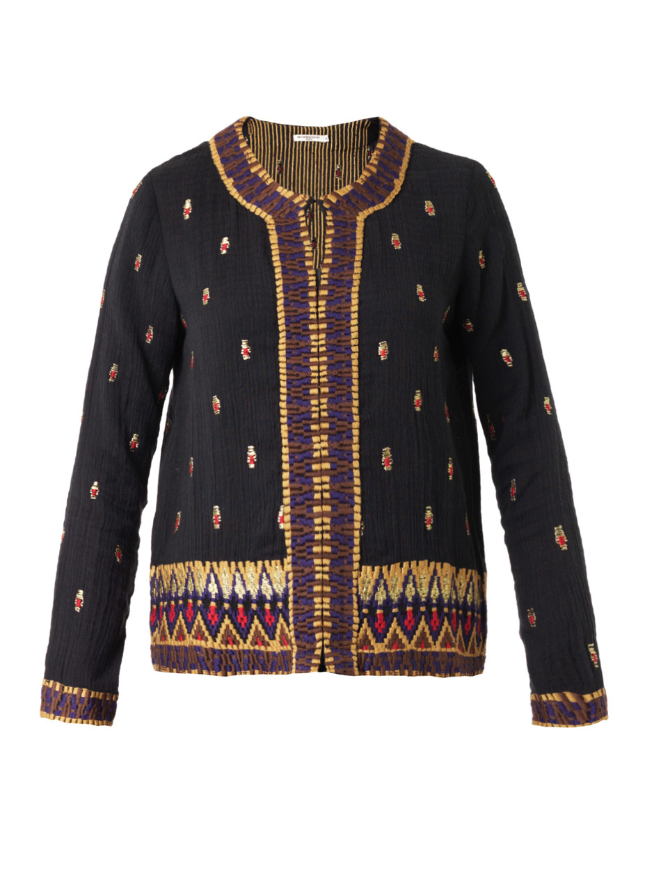 Mes demoiselles keanu embroidered cotton jacket in black