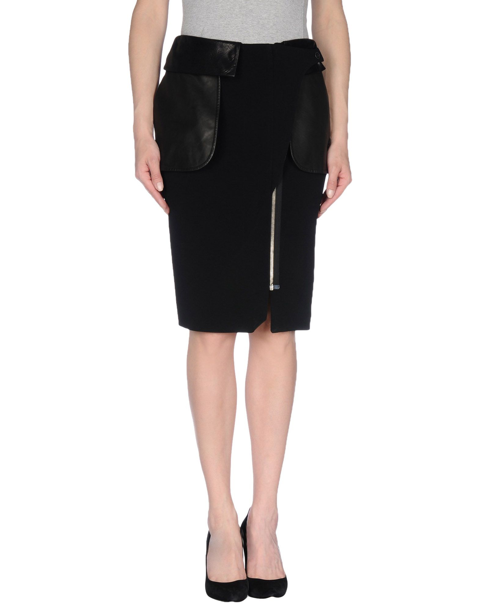 jean paul gaultier knee length skirt in black lyst