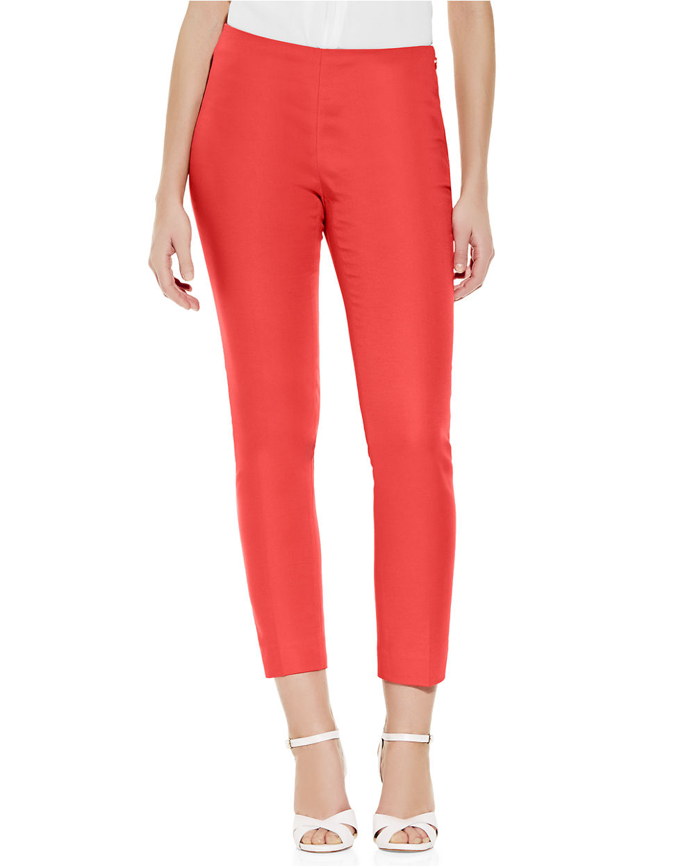 Vince Camuto Side Zip Skinny Pants In Red Pomegranate Lyst