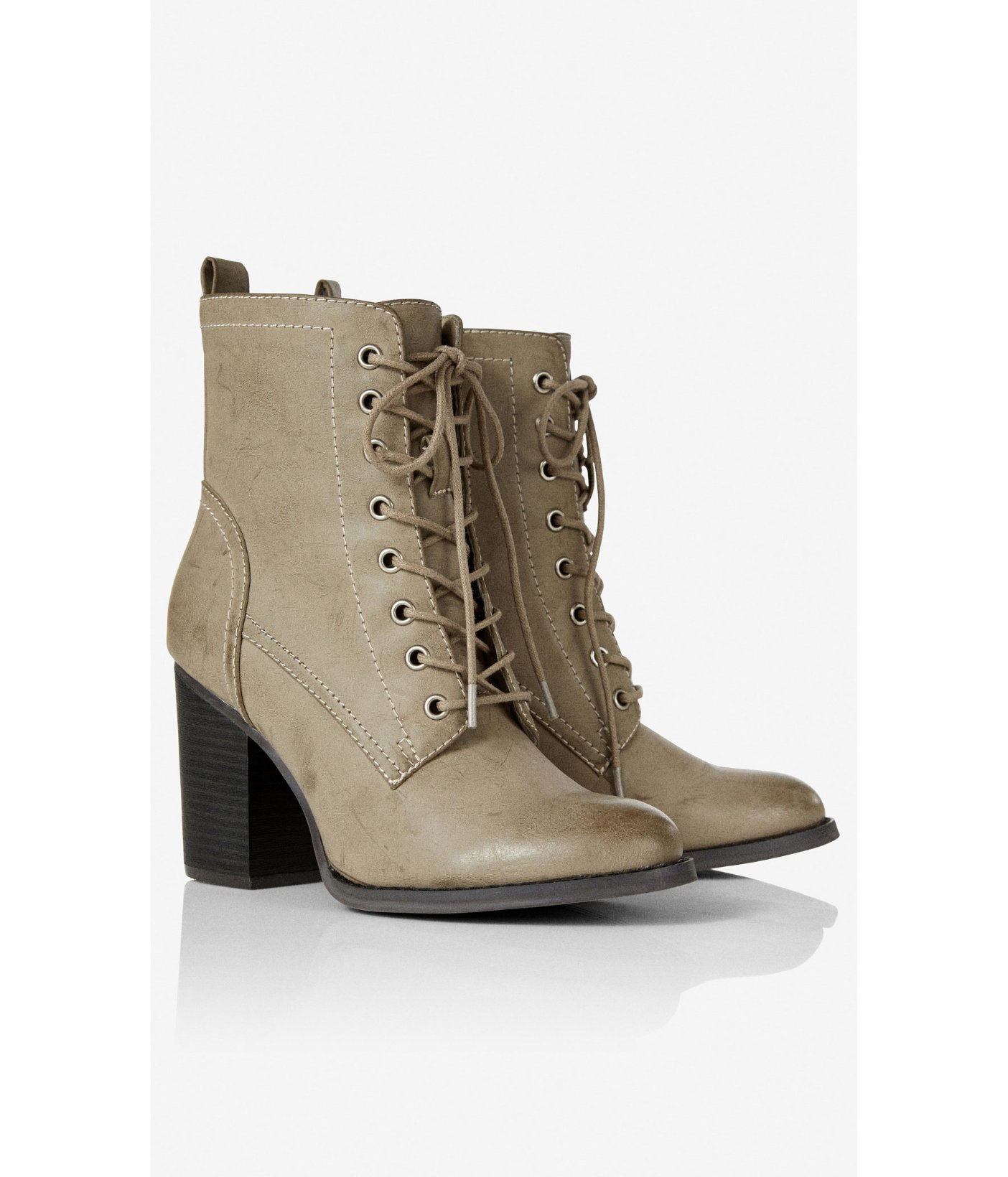 Express Lace-Up Heeled Boot in Grey