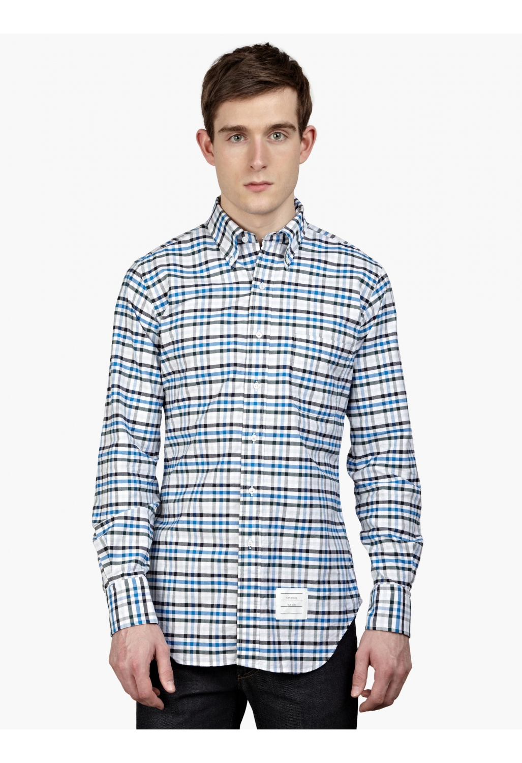 Crew cotton oxford shirt in blue for men blue and green for Mens blue oxford shirt