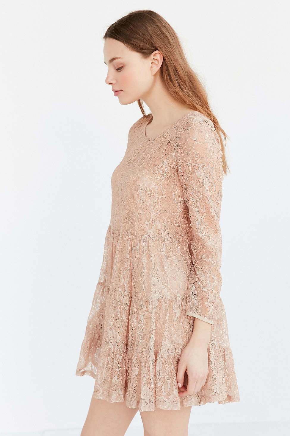 Nude Lace Tiered Dress