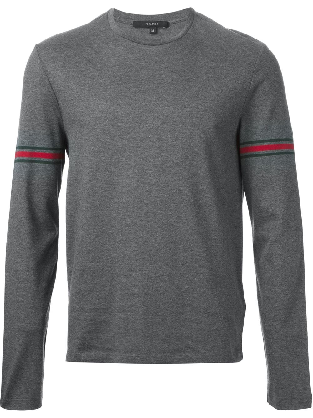 Gucci long sleeve t shirt in gray for men lyst for Grey long sleeve shirts