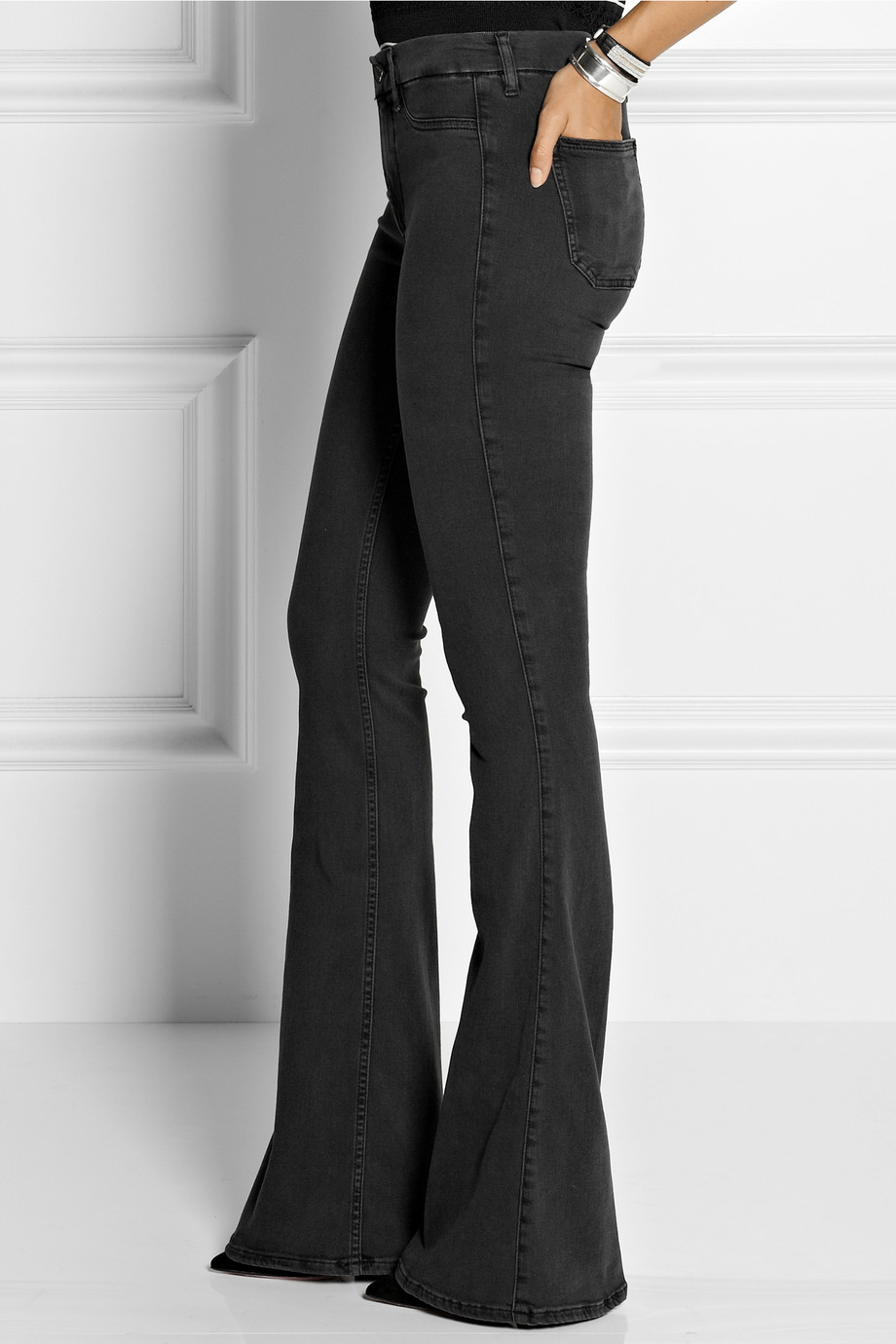 M.i.h jeans The Skinny Marrakesh Mid-Rise Flared Jeans in Black | Lyst