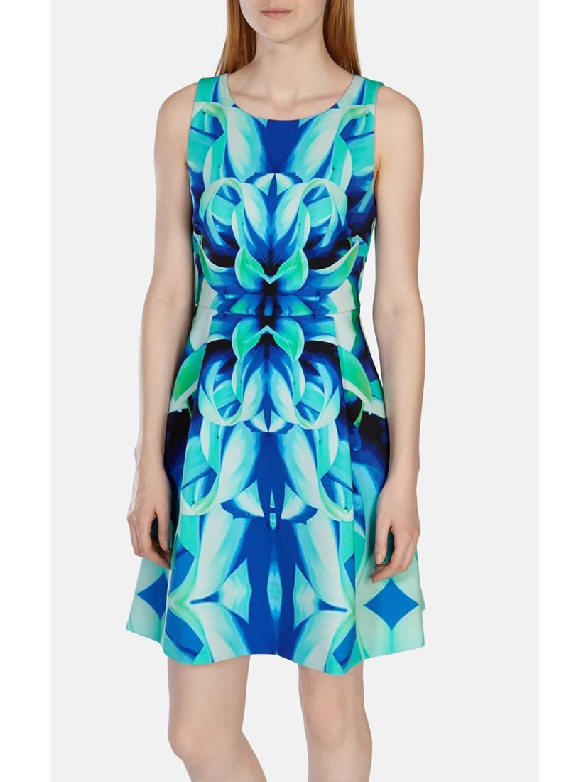 Karen Millen Mirrored Oversize Floral Dress in Blue - Lyst