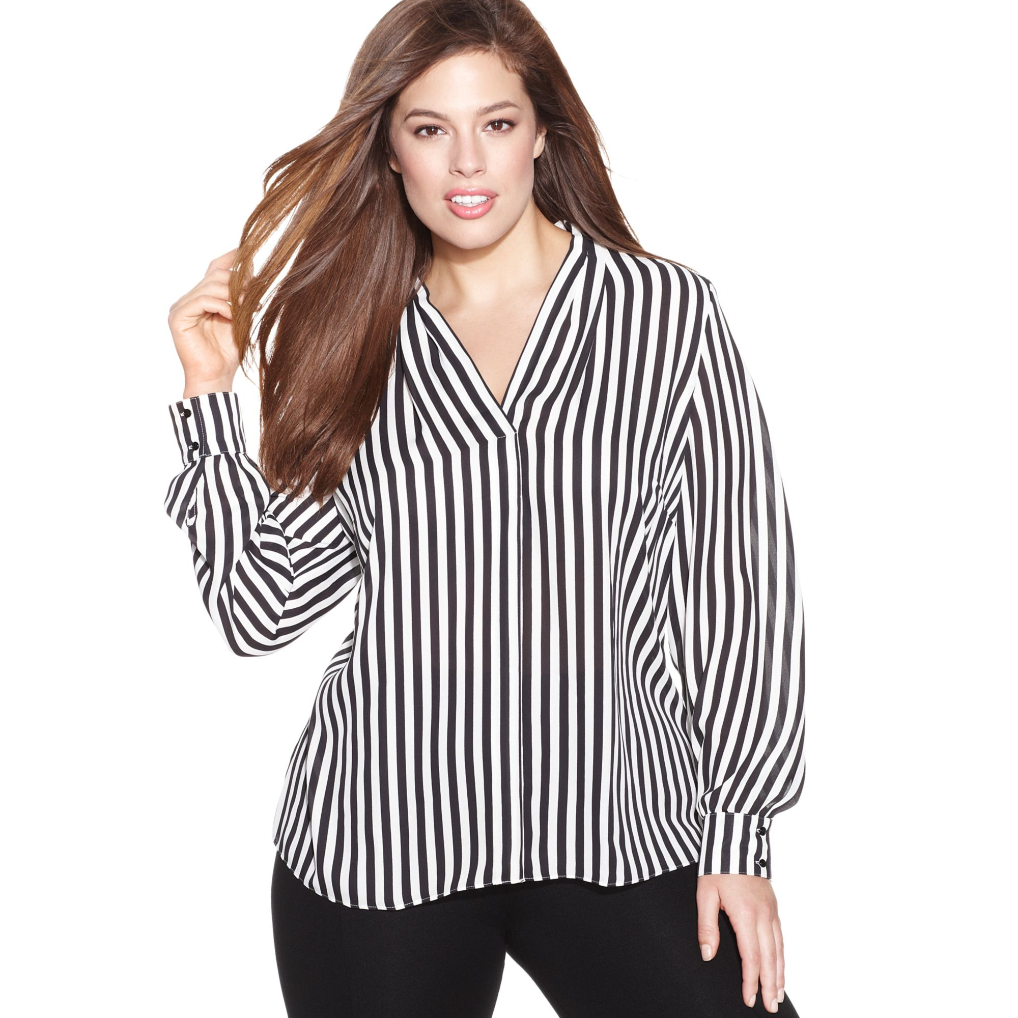 inc international concepts plus size longsleeve striped