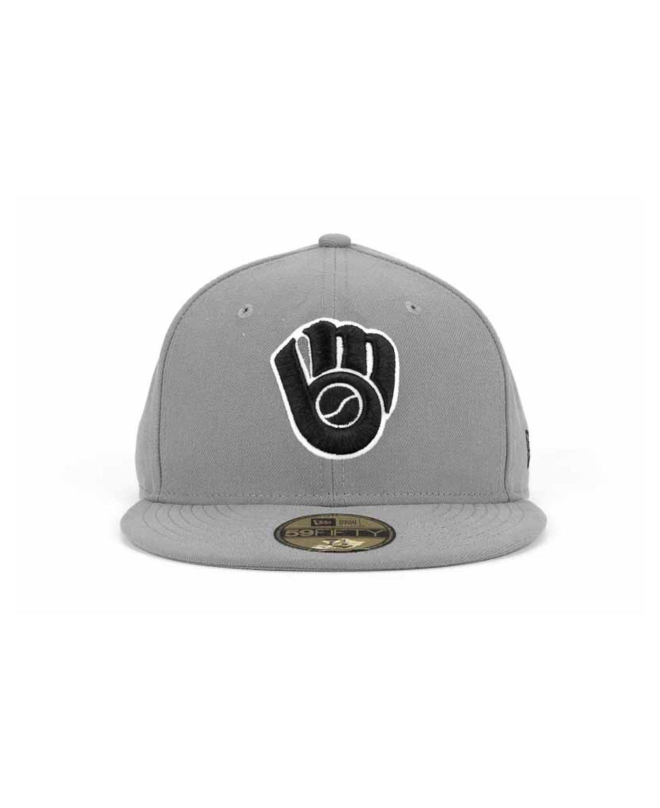 new product d0f41 7d7ab KTZ Milwaukee Brewers Mlb Gray Bw 59fifty Cap in Gray for Men - Lyst