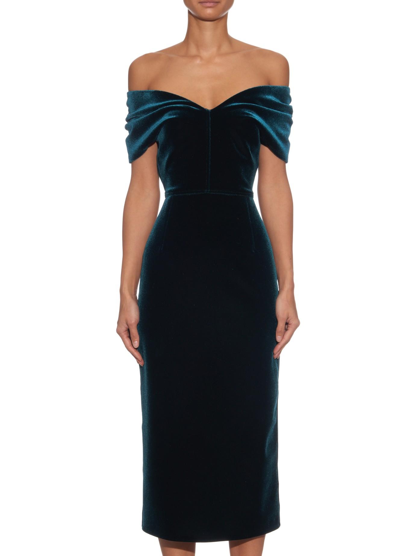 Emilio De La Morena Off The Shoulder Velvet Midi Dress In