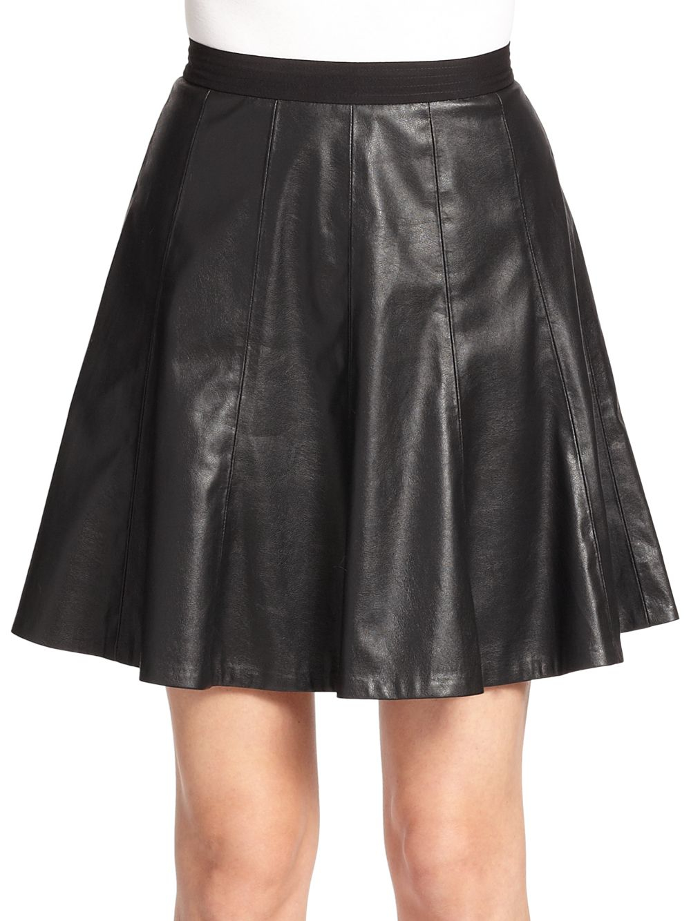 pleated faux leather skirt in black lyst