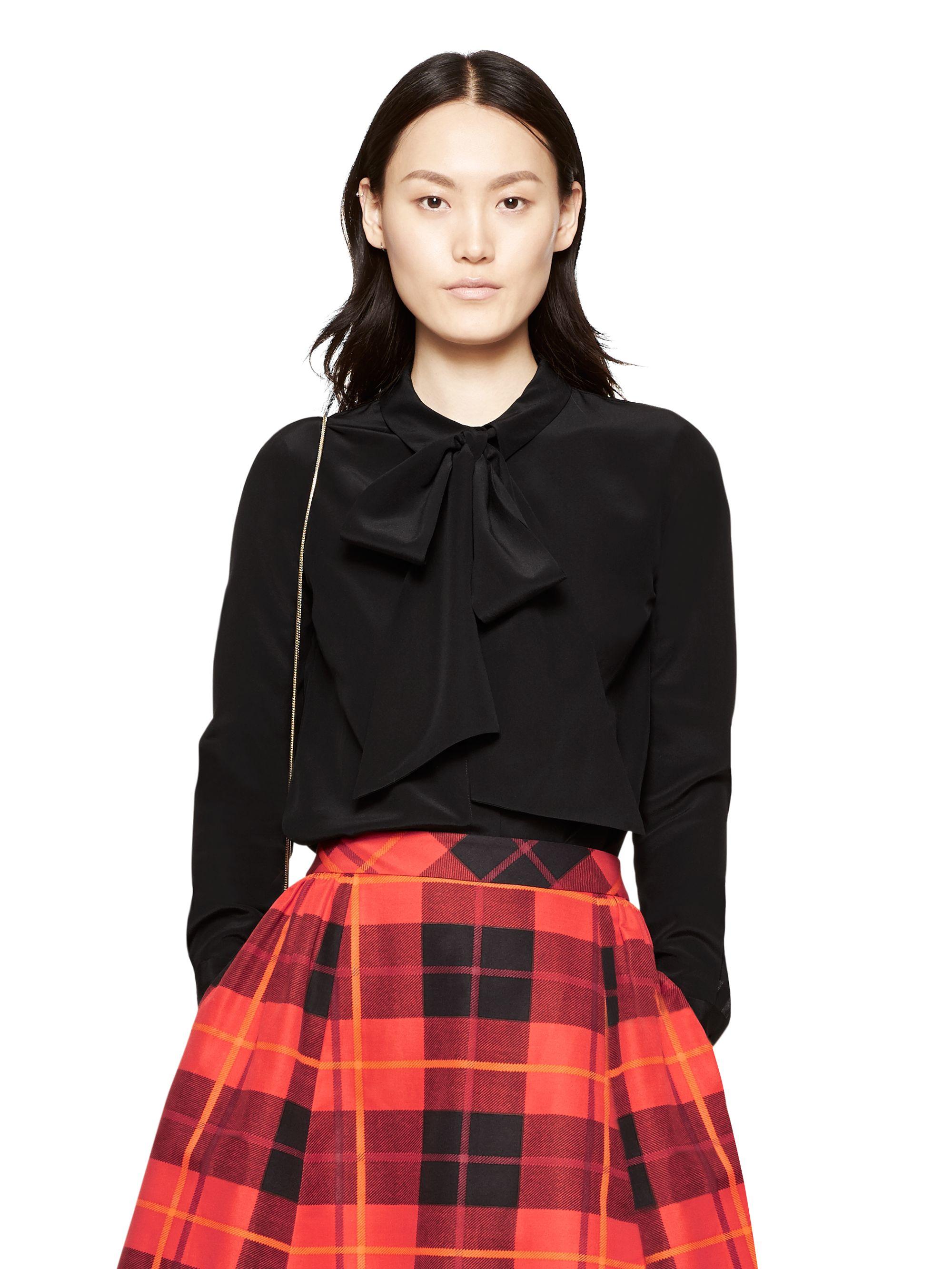 Kate Spade Cape Stripe Silk Shirt In Cream Black Lyst