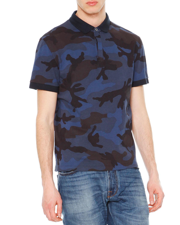 Valentino camo print short sleeve polo shirt in blue for for Camo polo shirts for men