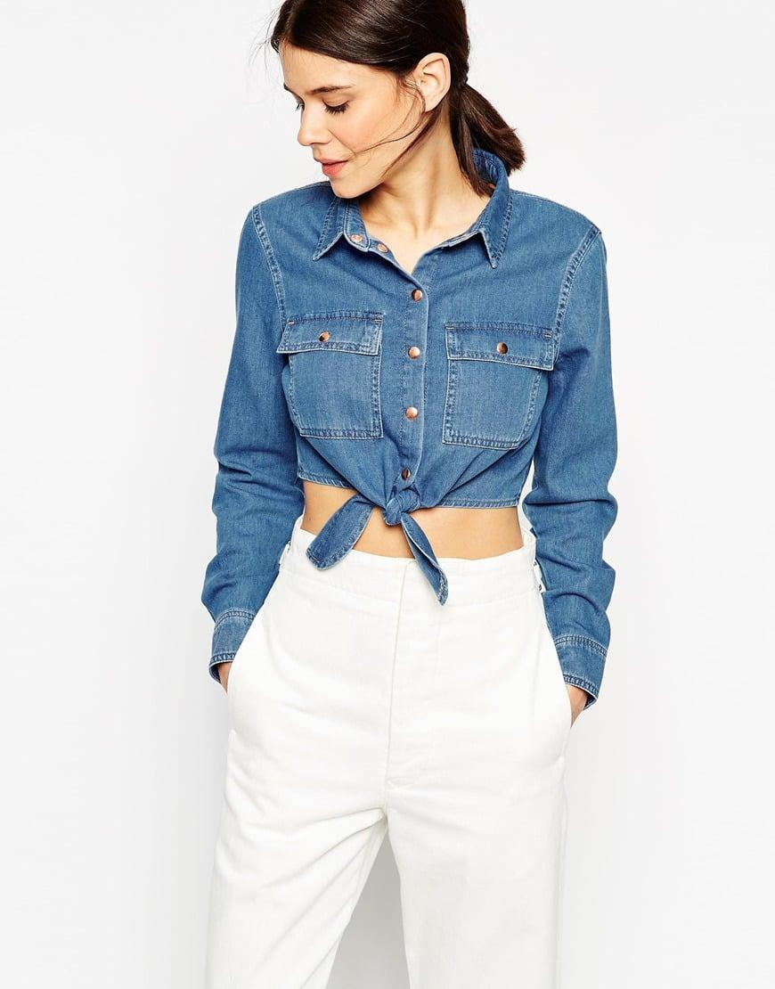 0f180547d8e Lyst - ASOS Denim Tie Front Shirt In Vintage Wash in Blue