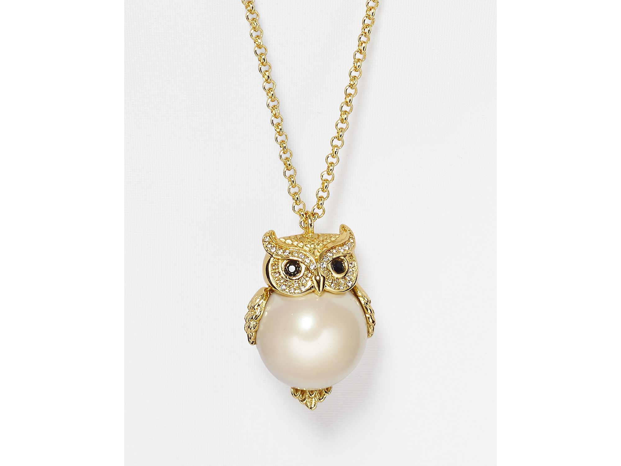 92887706915a7 kate spade new york Metallic Faux Pearl Owl Pendant Necklace, 32