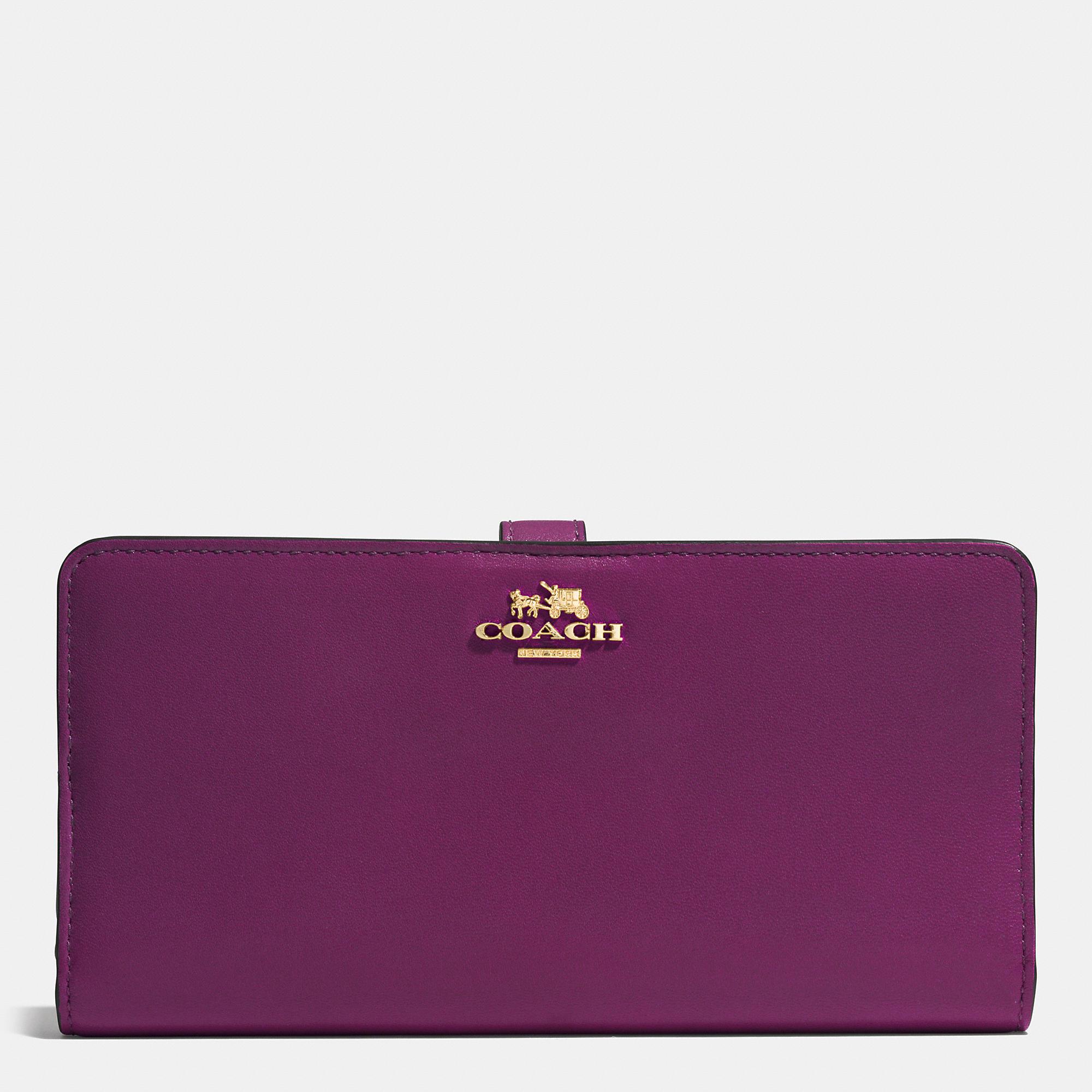 Coach Skinny Wallet In Leather In Purple Lyst