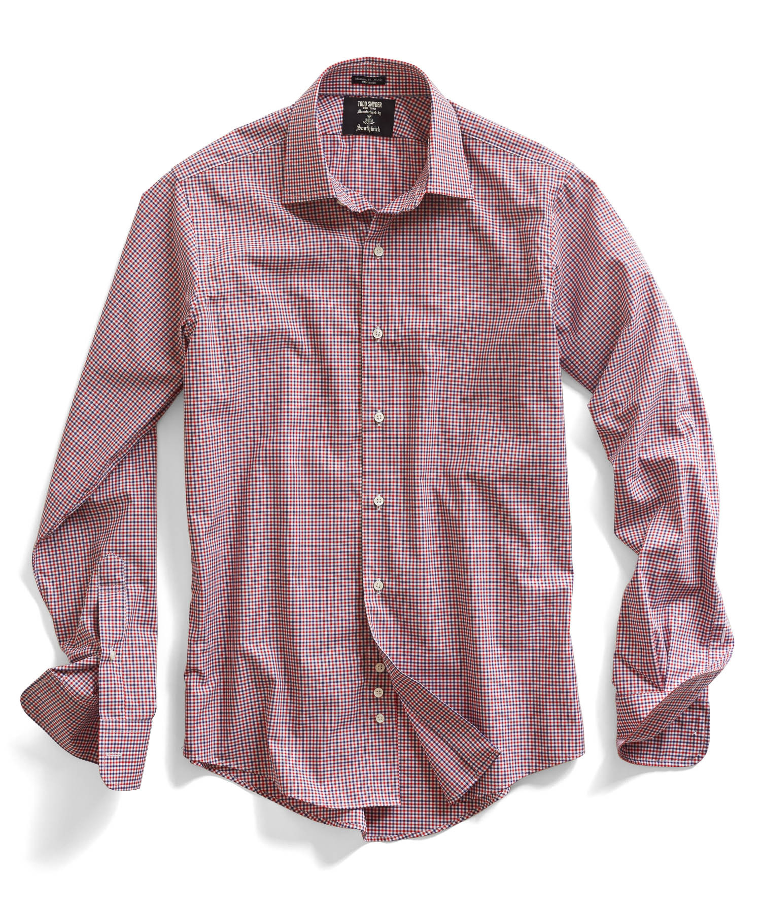 Todd snyder red mini gingham dress shirt in red for men lyst for Men s red gingham dress shirt