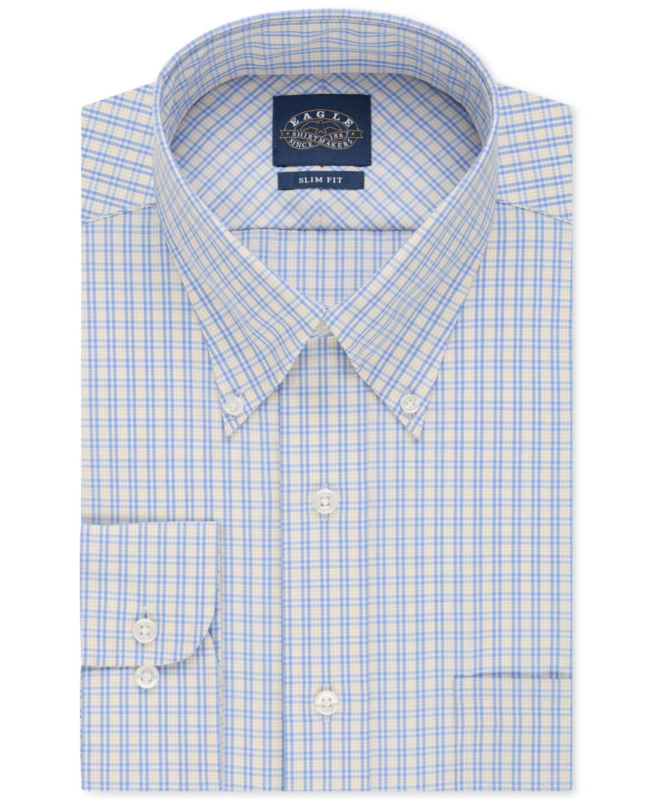 Eagle slim fit non iron blue and yellow check dress shirt for Slim fit non iron shirts