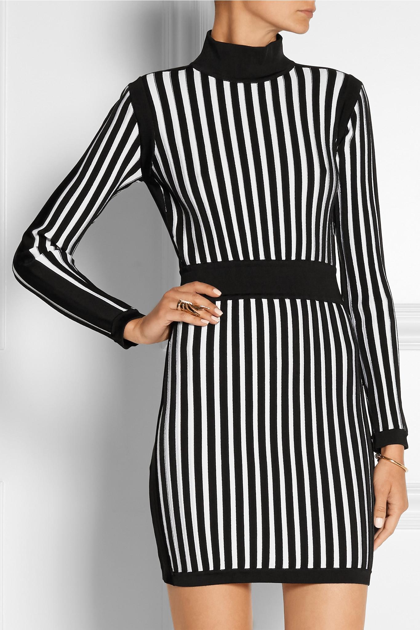 8567b2c8db Balmain Striped Stretch-knit Mini Dress in Black - Lyst