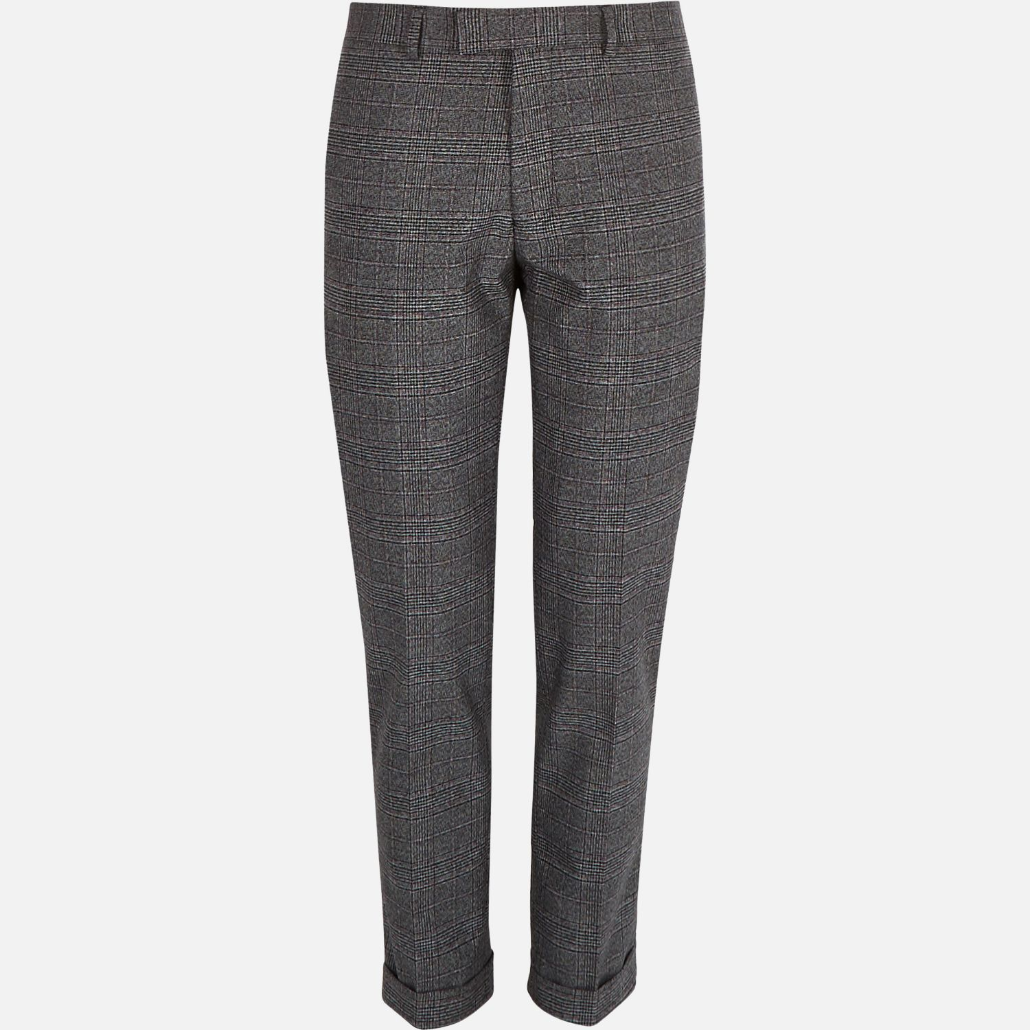 aab652e729d River Island Grey Check Slim Fit Cropped Trousers in Gray for Men - Lyst