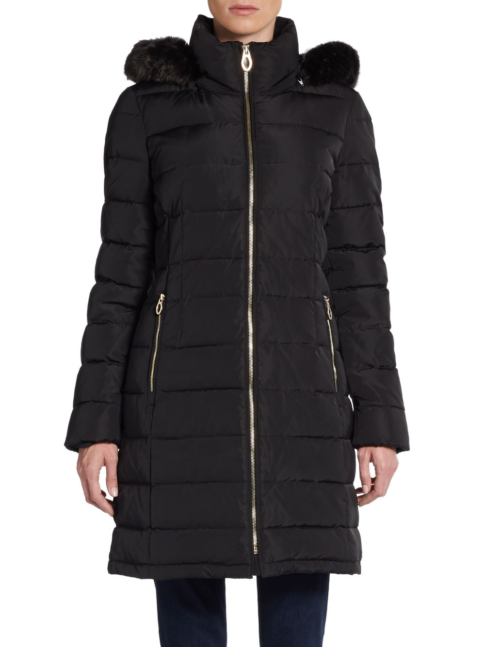 Ivanka Trump Hooded Faux Fur Trimmed Puffer Jacket In
