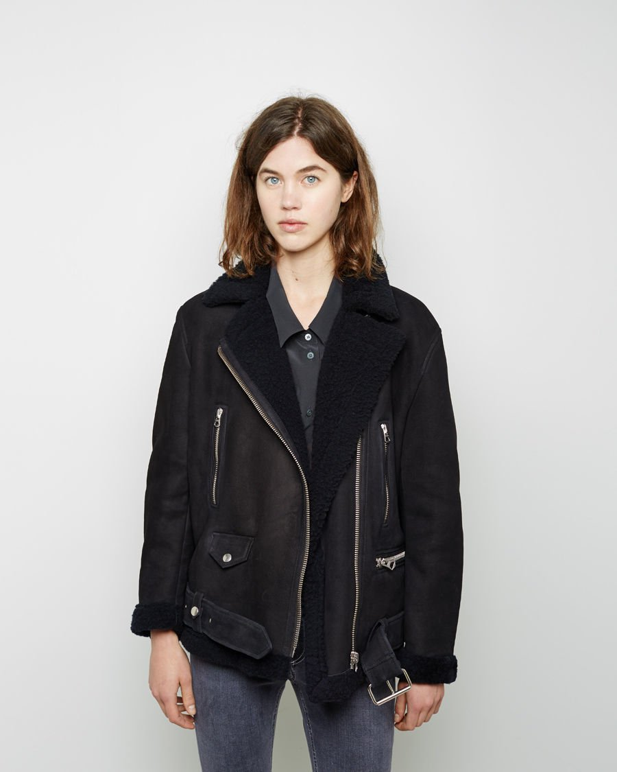 acne studios more shearling lined suede jacket in blue lyst. Black Bedroom Furniture Sets. Home Design Ideas
