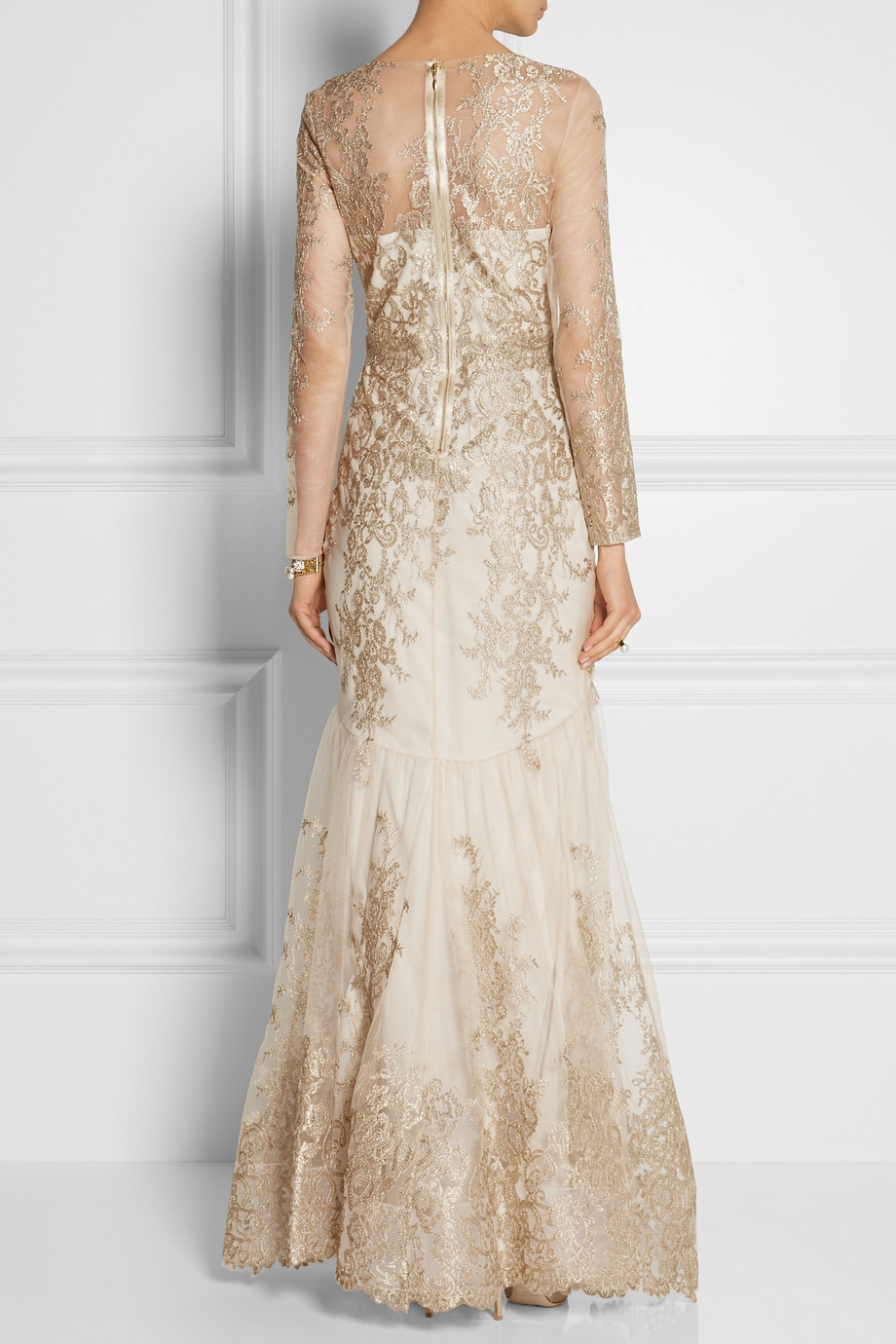 5d225c3fa14 Marchesa notte Embroidered Tulle Gown in Metallic - Lyst