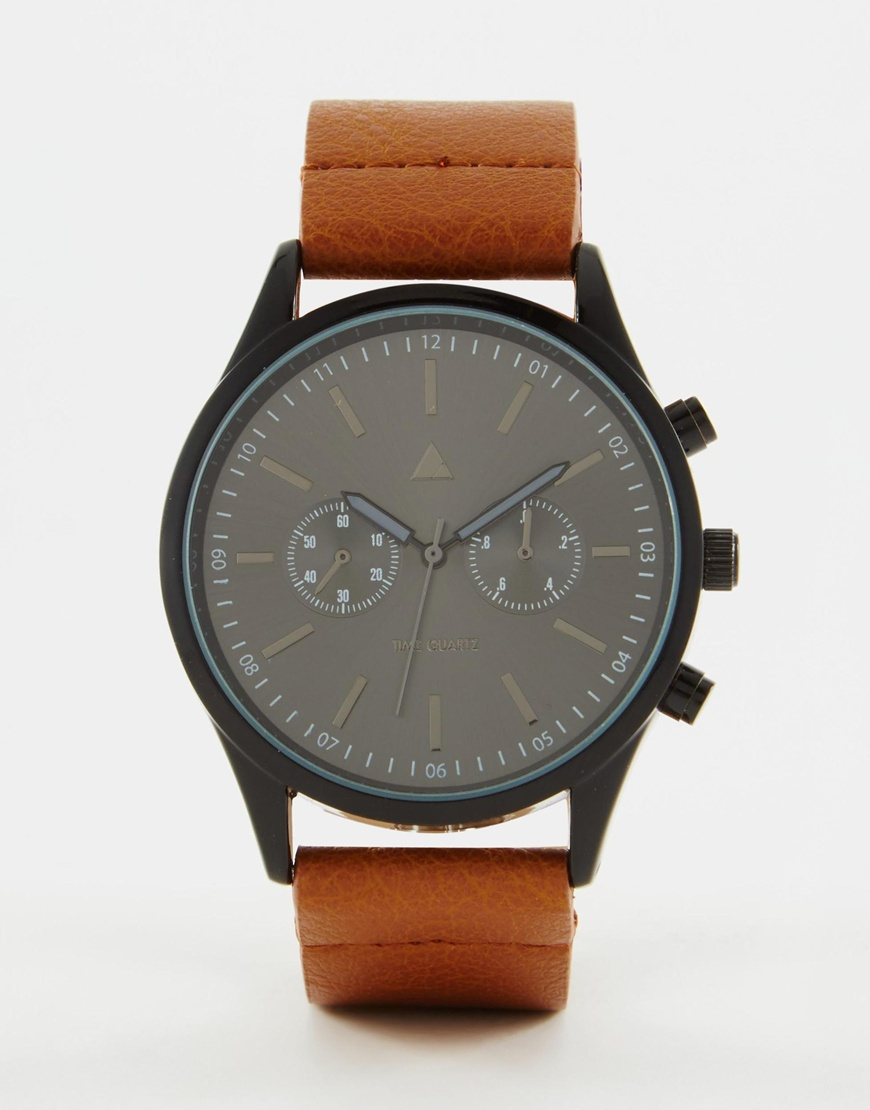 Asos watch in black with tan strap in multicolor for men lyst for Black tan watch